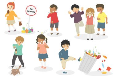 naughty kids doing bad things. vector set of kids with bad attitude