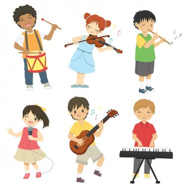 Boys and girls playing music instruments vector collection. Children playing music vector set