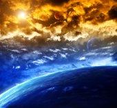 prostor scény s planetami a mlhovina