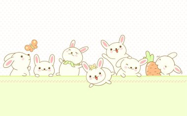 Vector border with Easter bunnies