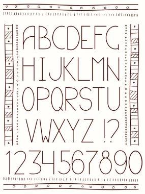 Alphabet in ethnic style