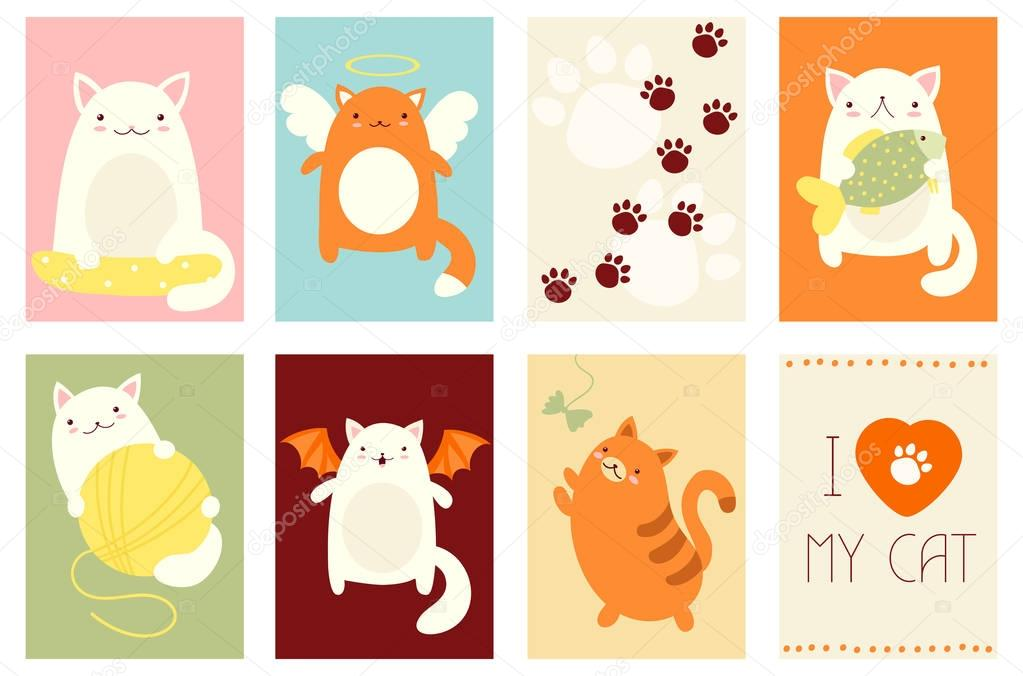 Set of banners with cute cats
