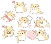 Gyűjteménye aranyos macskák kawaii stílusban
