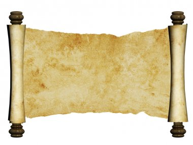 Old parchment. Isolated on white background. Copy space. 3d render stock vector