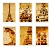 Kolekce retro grunge karet s památky Paříže