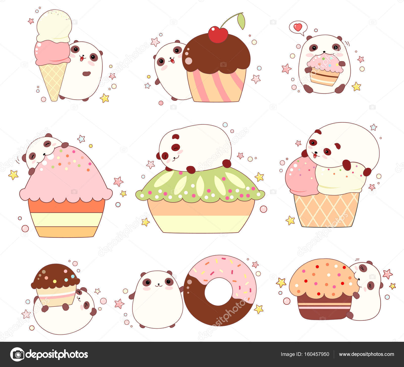 Set Of Cute Pandas With Ice Cream And Cupcakes Stock Vector