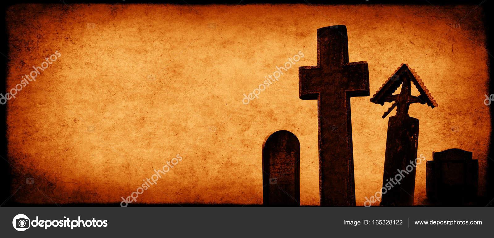 Halloween Kruis.Halloween Banner Met Oud Papier Textuur En Middeleeuwse