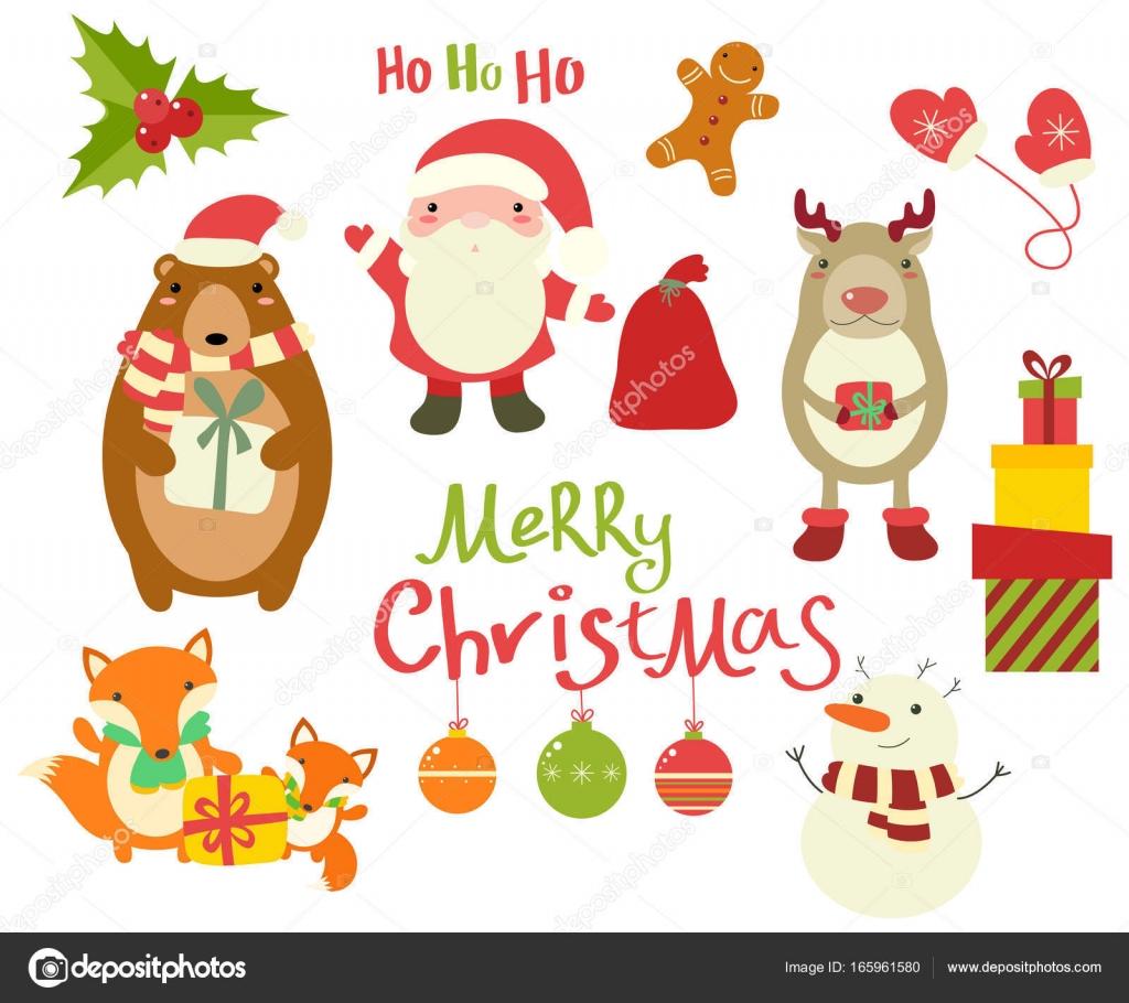 Sammlung von Weihnachten Zeichen - süße Tiere und Santa Clau ...