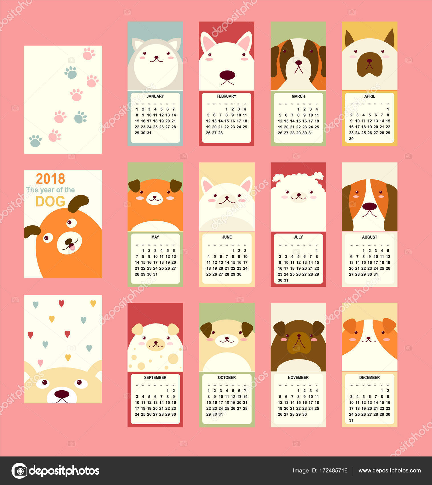Monthly Calendar 2018 With Cute Dog Stock Vector