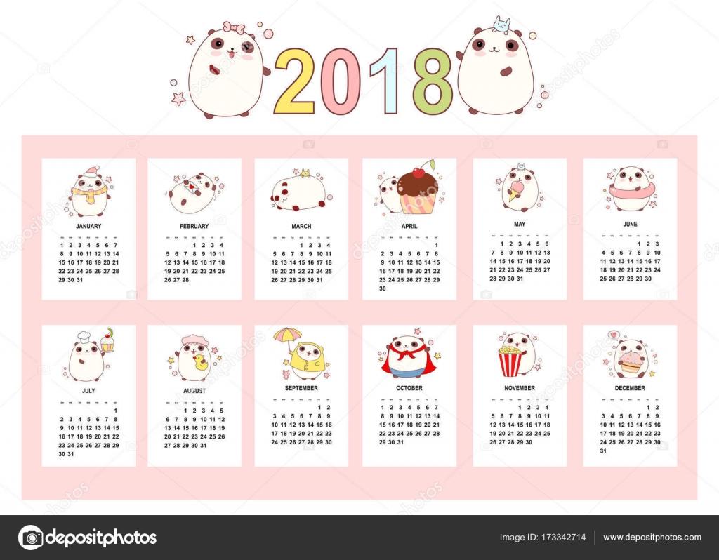 Monthly Calendar 2018 With Cute Pandas Stock Vector