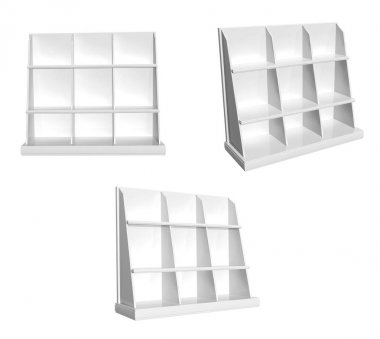 Collection of showcases. View from different angles. Objects isolated on white background. 3d render stock vector