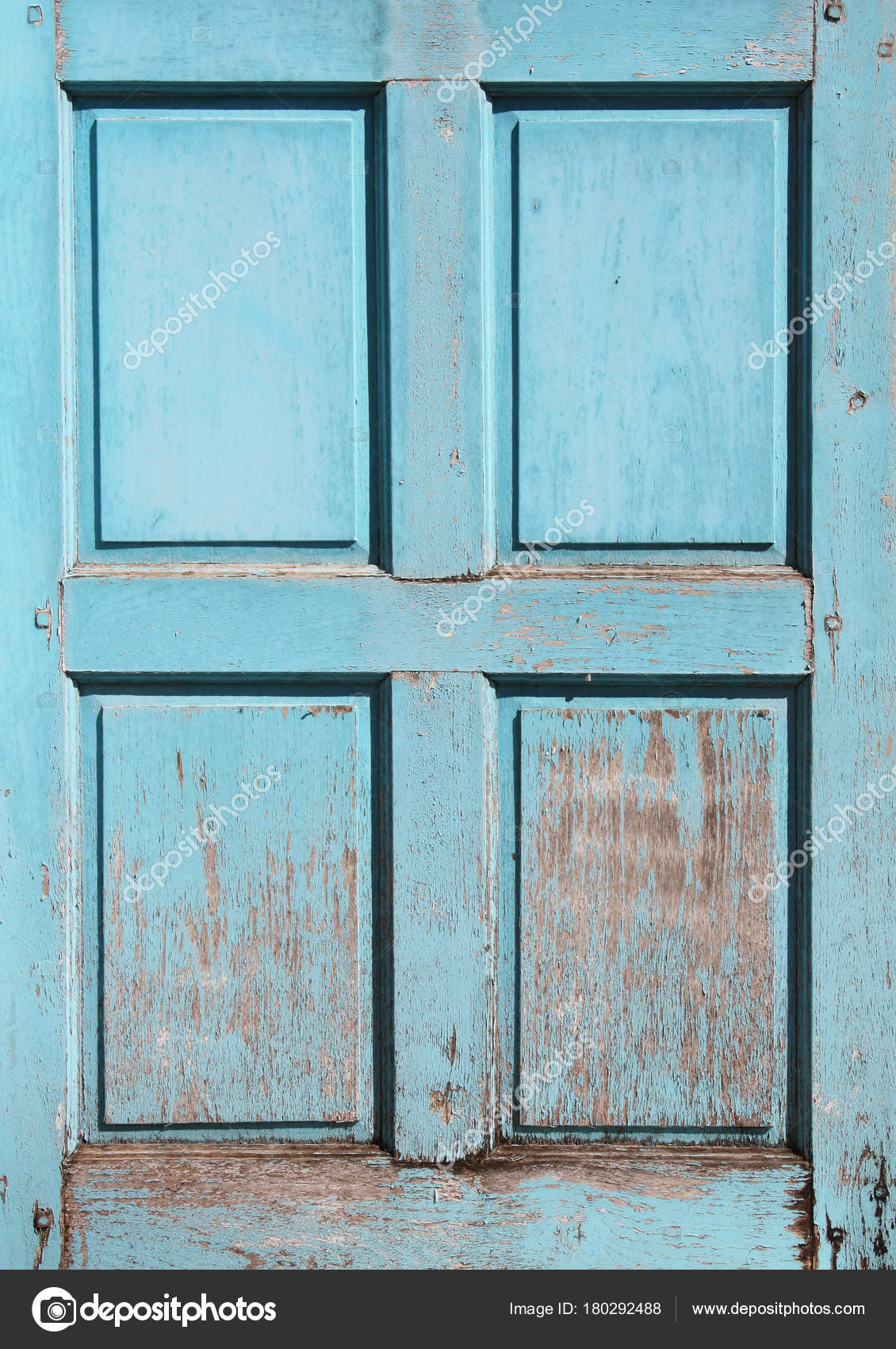 Wooden Shutter With Cracked Paint Of Blue Color Stock