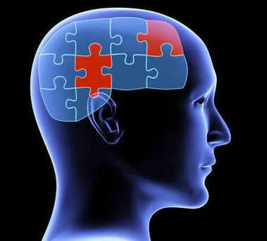 Memory loss. Human profile and brain in the form of the puzzle with two pieces of red color. On black background. 3d render stock vector