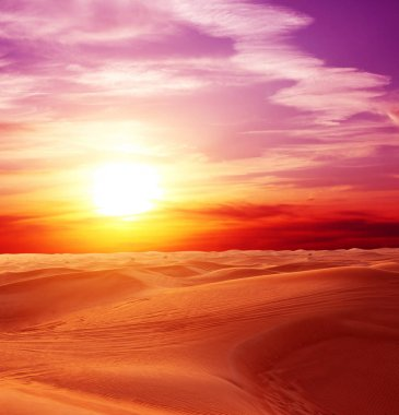 Sunset in desert. Beautiful landscape with sand dunes, cloudy sky and sun stock vector