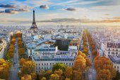 Fotografie Aerial panoramic cityscape view of Paris, France