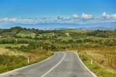 Krajina z San Quirico dOrcia, Toskánsko, Itálie