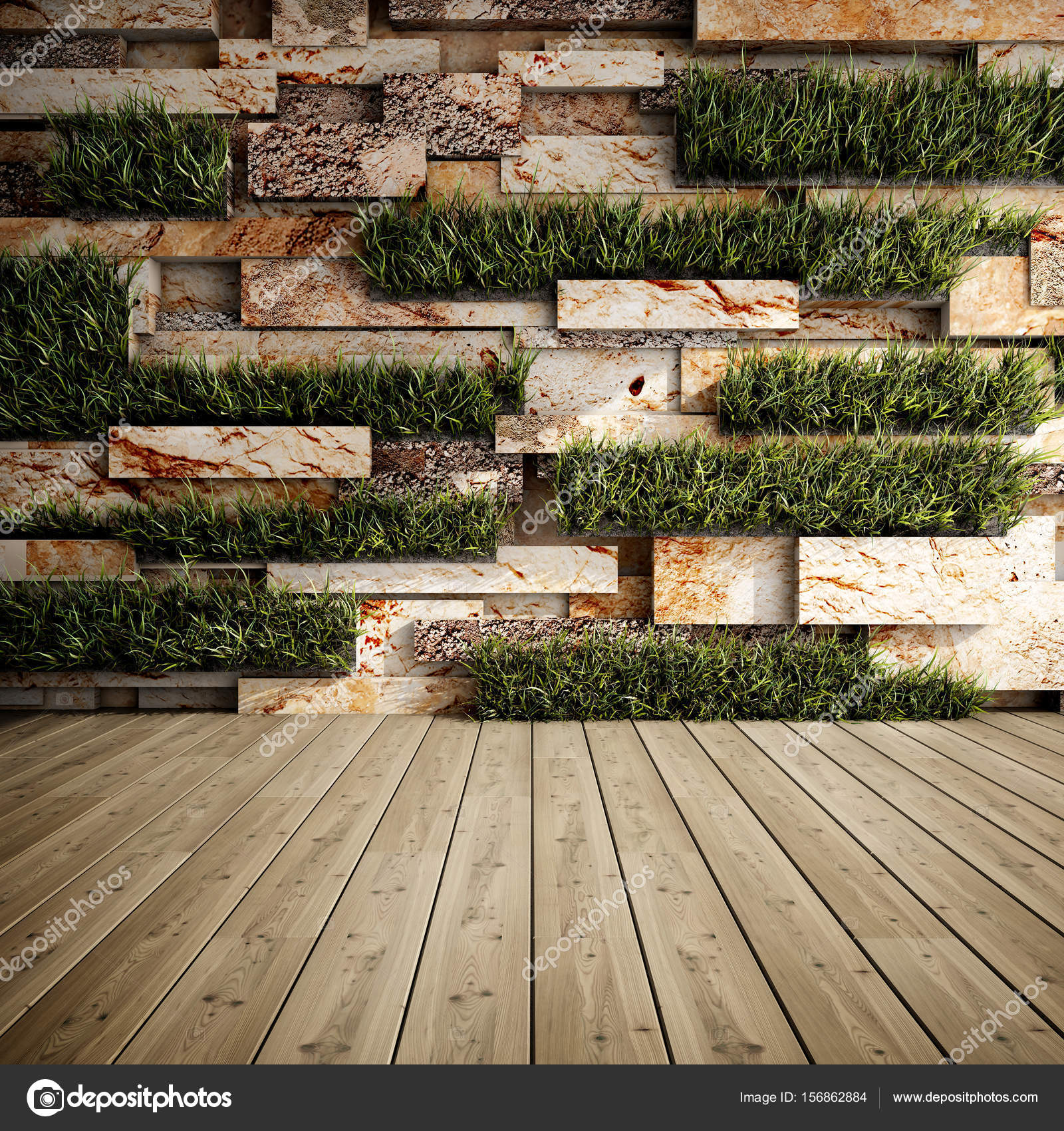 Wall with vertical gardens — Stock Photo © Shenki #156862884