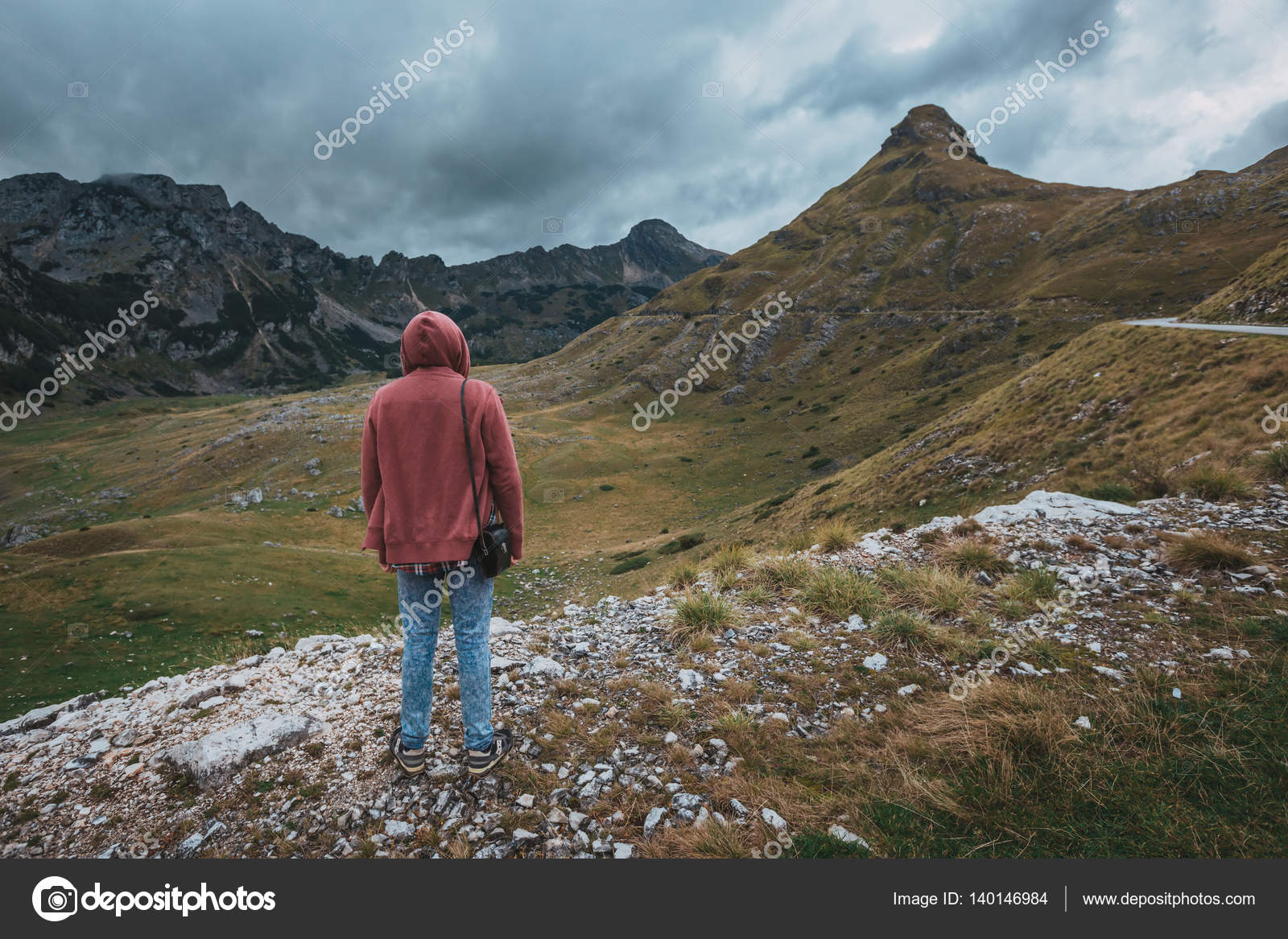 87c621fe54c7 Man Traveler hiking Travel Lifestyle concept beautiful mountains landscape  on background Summer journey adventure vacations outdoor