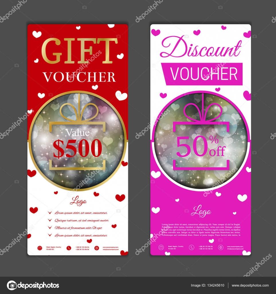 Geschenk Gutschein Vorlage. Valentinstag-design — Stockvektor ...