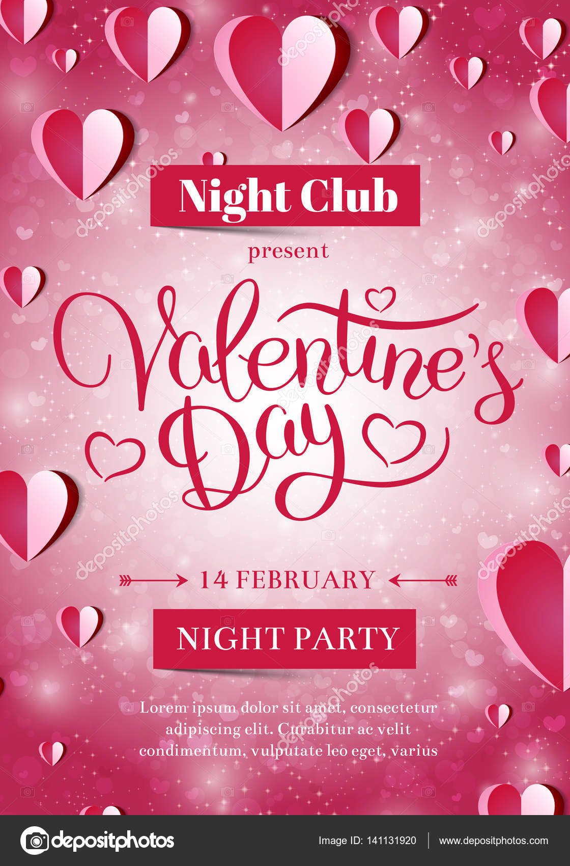 Valentines Day party flyer invitation — Stock Vector © d_arts #141131920