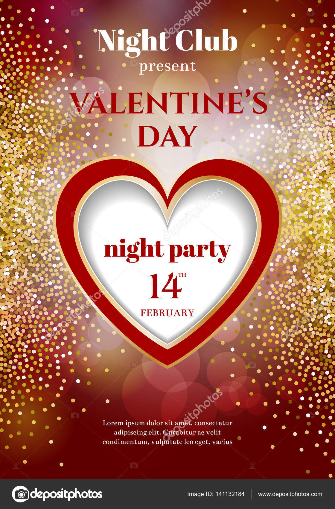 valentines day party flyer invitation  u2014 stock vector  u00a9 d