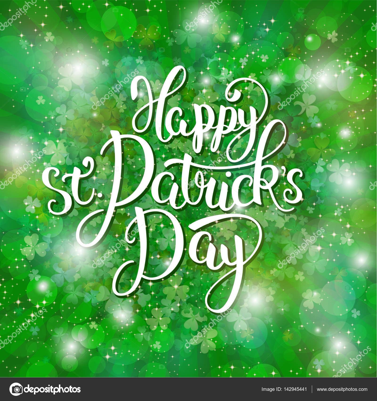Glücklich St. Patrick Tag - Grußkarte mit Schriftzug — Stockvektor ...