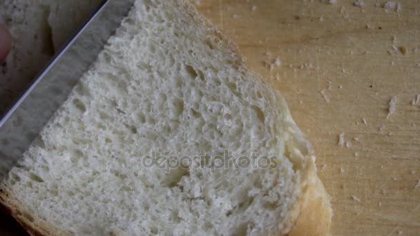 Male hand cutting loaf of bread.