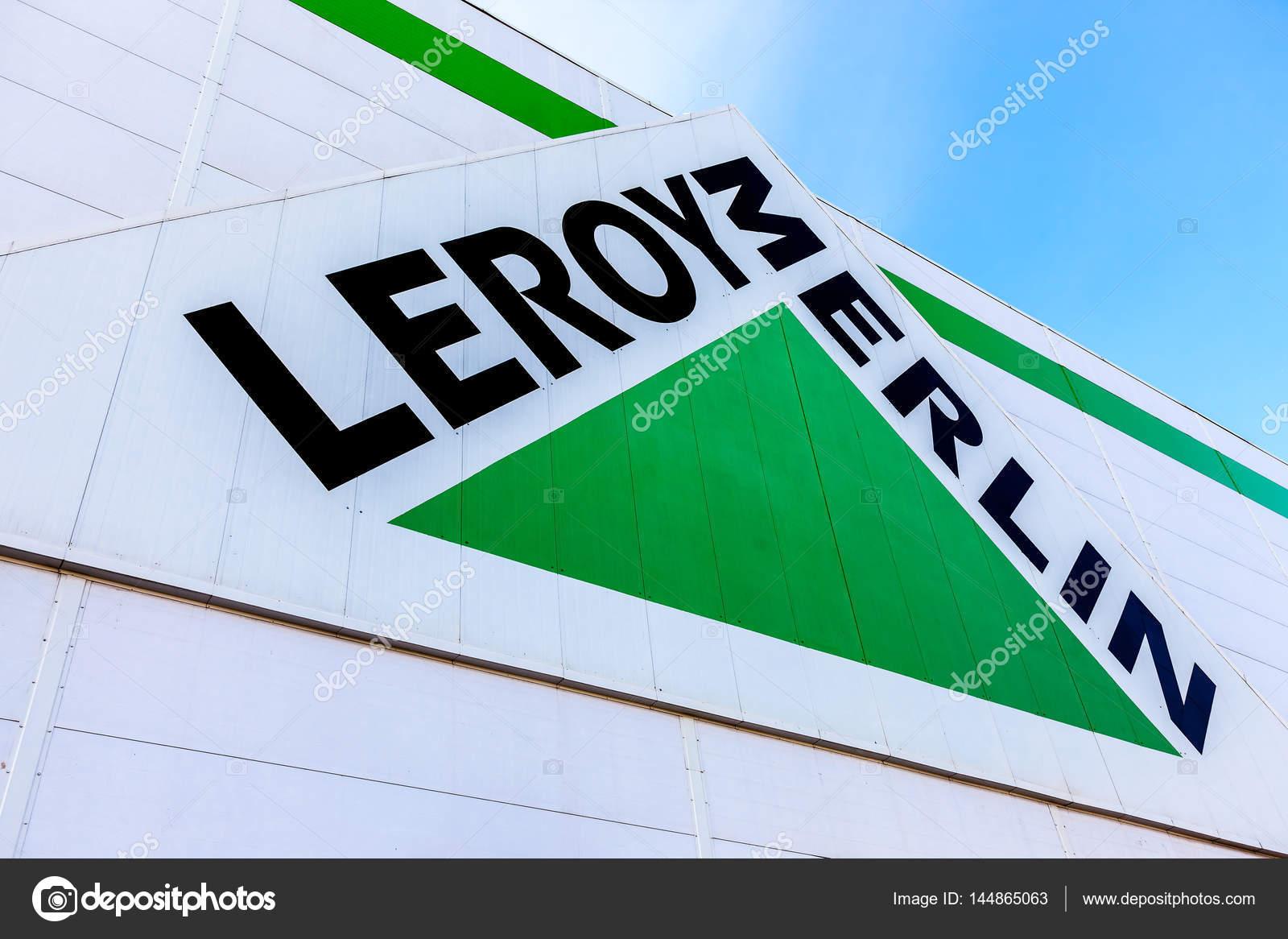 leroy merlin brand sign against blue sky stock editorial. Black Bedroom Furniture Sets. Home Design Ideas