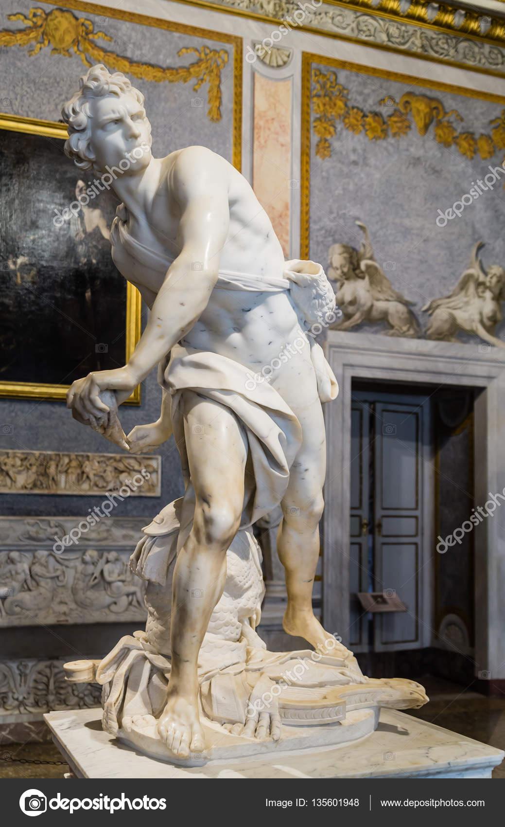 Marble sculpture David by Gian Lorenzo Bernini in Galleria