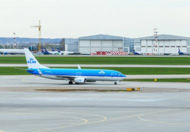 The plane Air France-KLM carries out taxiing at the airport Sheremetyevo. Moscow
