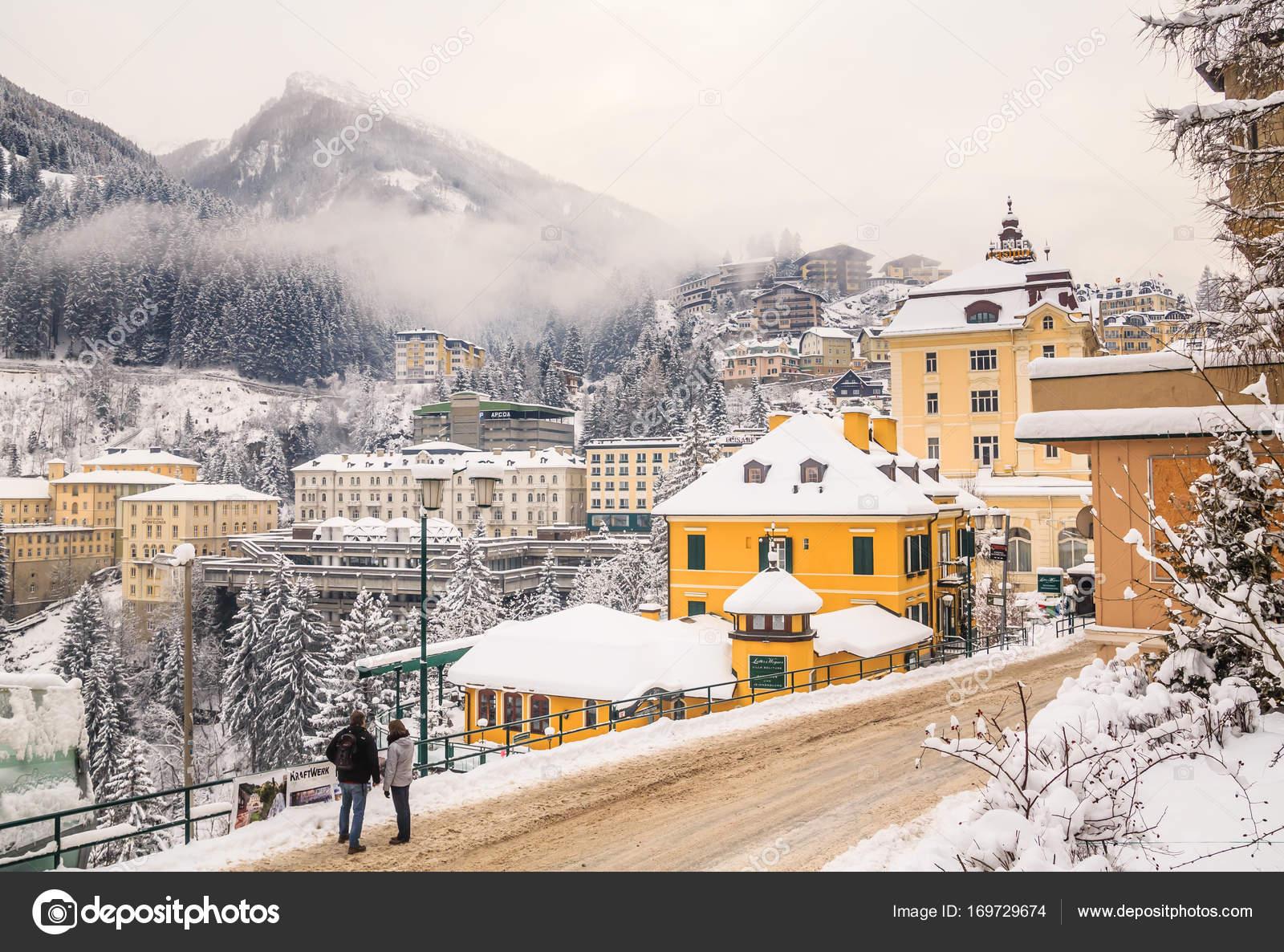 winter in the austrian spa and ski resort bad gastein, austria