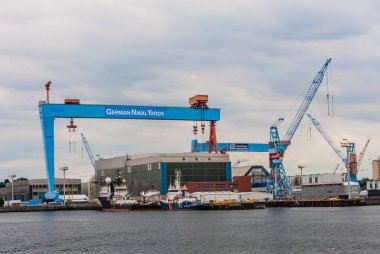 Cranes and lifting equipment at Kiel Harbour, north Germany