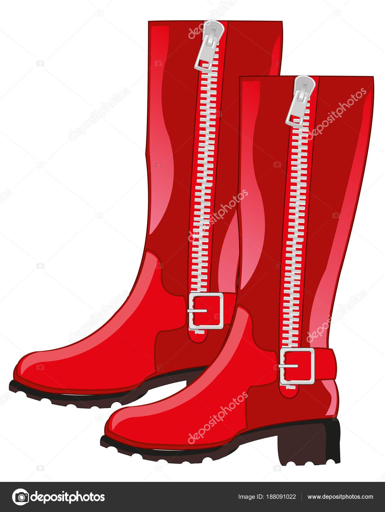 Взуття жіноче червоні чоботи з застібка. Векторні ілюстрації — Вектор від  cobol1964 54820d8139db8