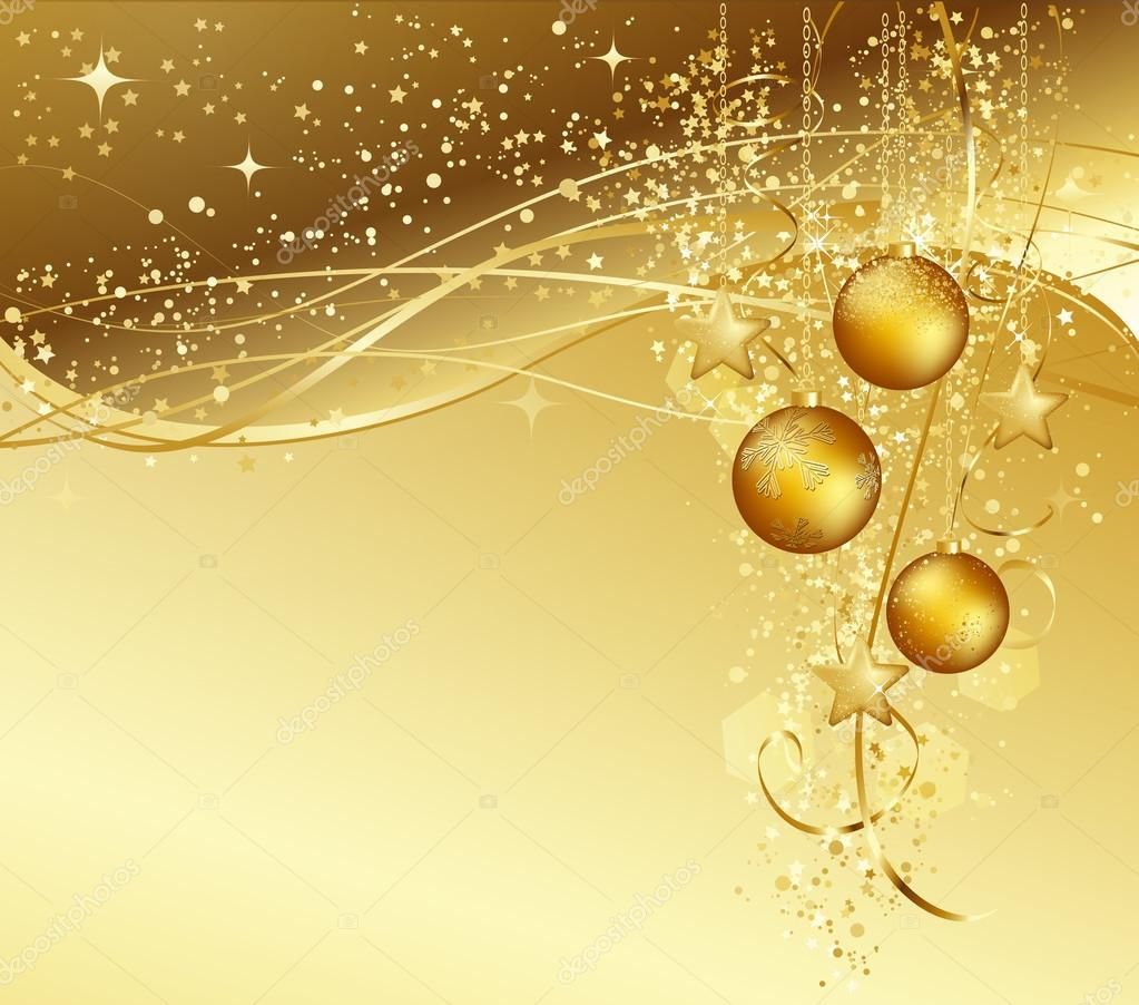 Immagini Natale Oro.Sfondo Di Natale Con Palle Di Natale Oro Vettoriali Stock