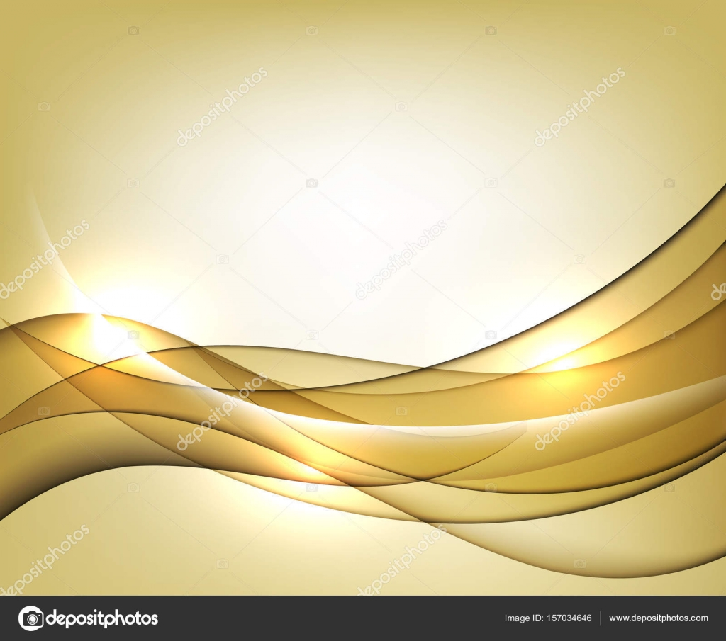 gold wavy vector template abstract background with transparent