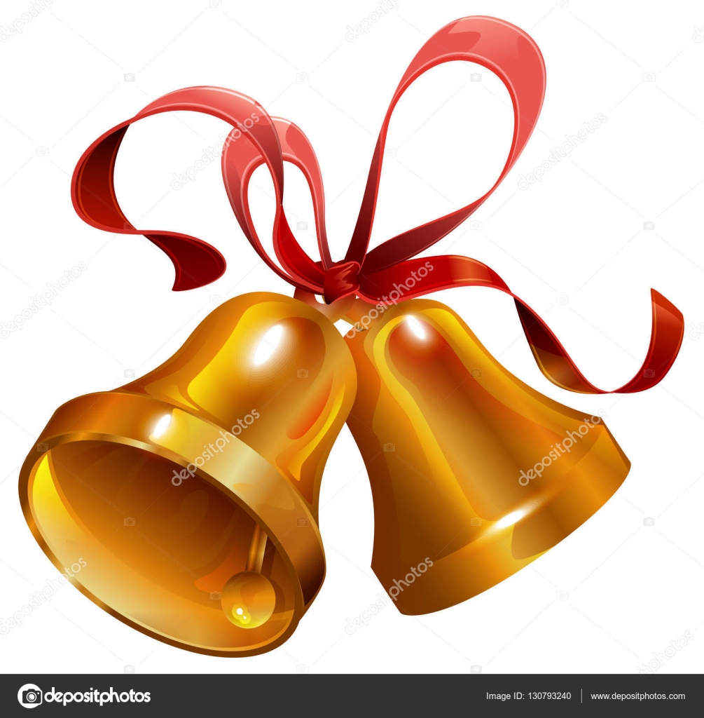 two gold christmas jingle bell with red ribbon — stock vector