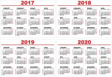 Set grid wall calendar for 2017, 2018, 2019, 2020
