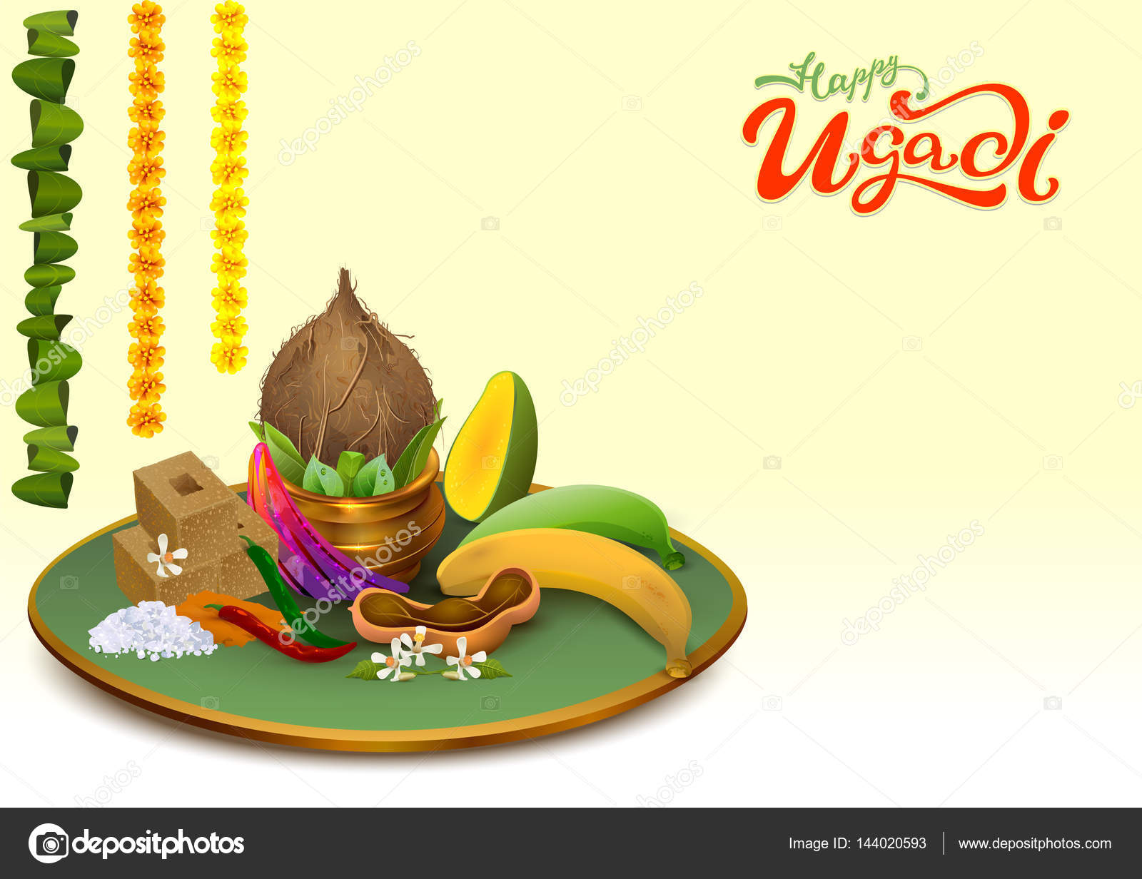 Happy ugadi template greeting card set holiday accessories gold template greeting card set holiday accessories gold pot coconut sugar kristyandbryce Gallery