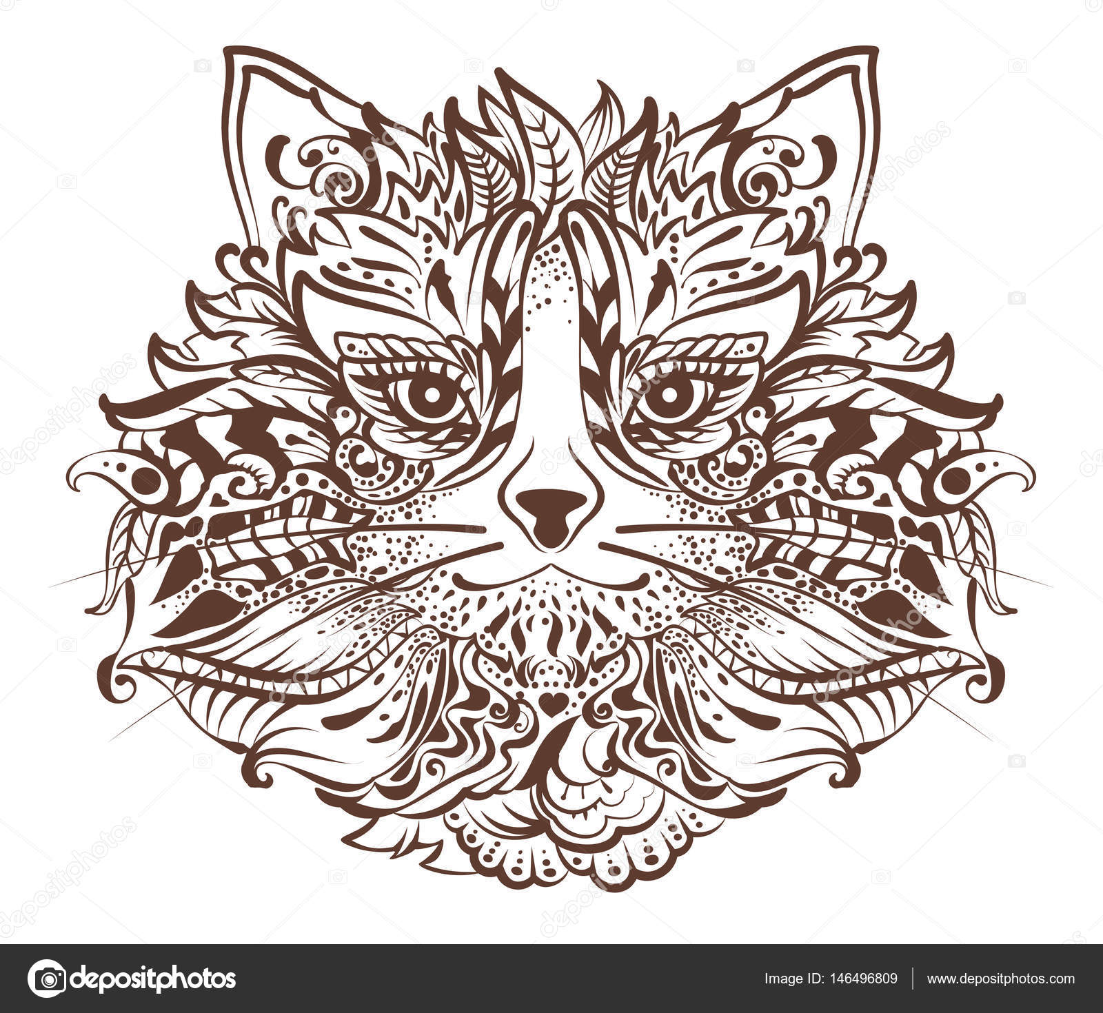 Tatouage Dessin Graphique Du Monochrome Tete Chat Image