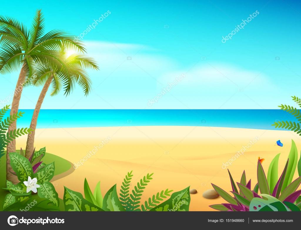 Imágenes Palmeras De Playa Animadas Playa De Arena De La Isla De