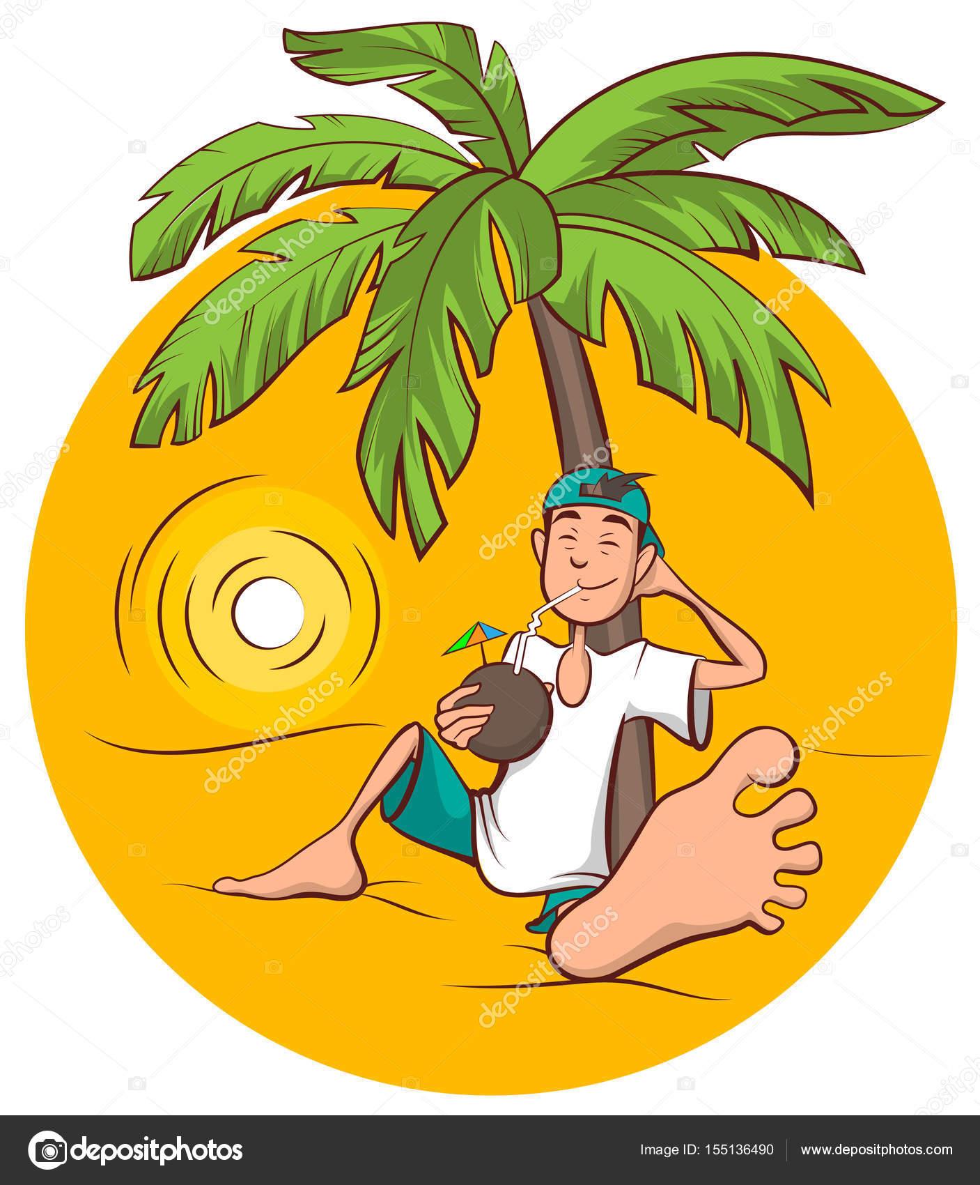 Vacaciones en la playa. Joven se sienta en árbol de Palma y bebe ...