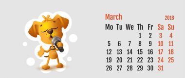 2018 year of yellow dog on Chinese calendar. Calendar grid month March. Yellow dog singing solo microphone