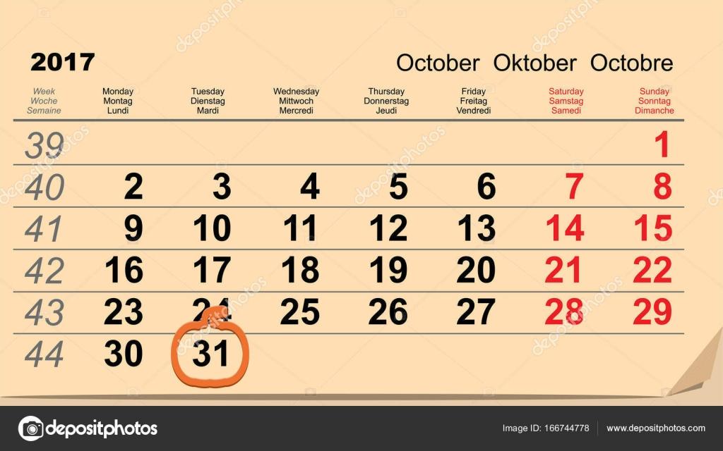 31 October 2017 Halloween. Calendar date reminder form pumpkin ...