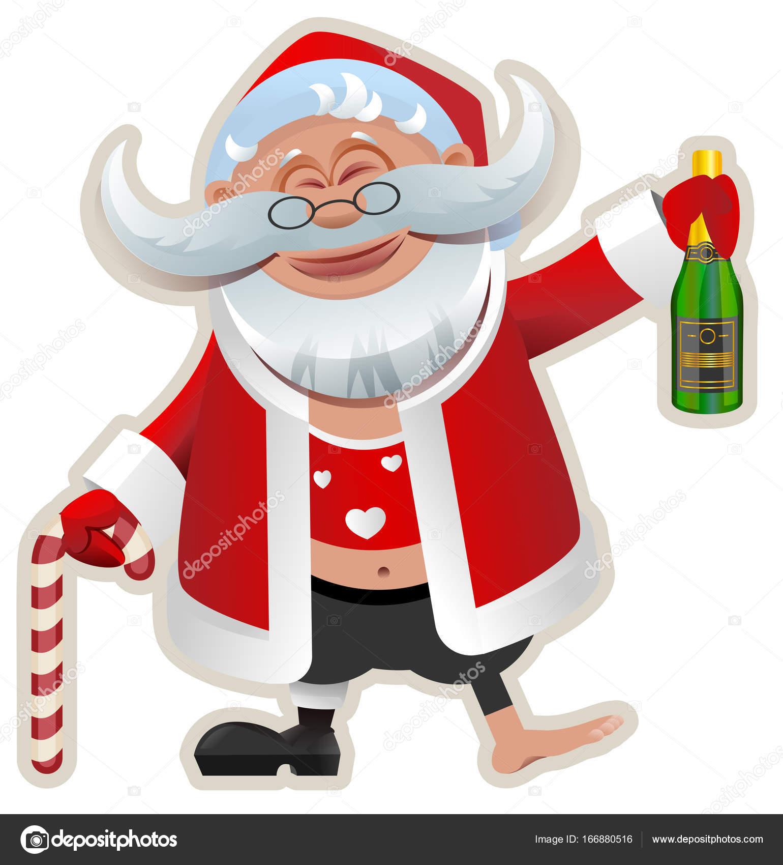Babbo Natale Ubriaco.Buon Natale Babbo Natale Ubriaco Divertente Della Holding Della