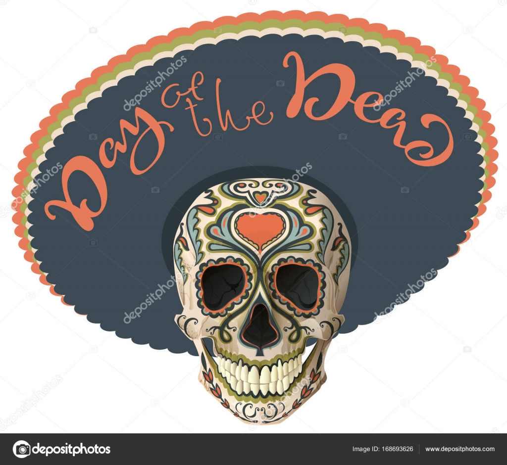 Day of the dead painted skull in sombrero hat mexican holiday dia day of the dead painted skull in sombrero hat mexican holiday dia de los muertos lettering text greeting card vector illustration vector by orensila m4hsunfo