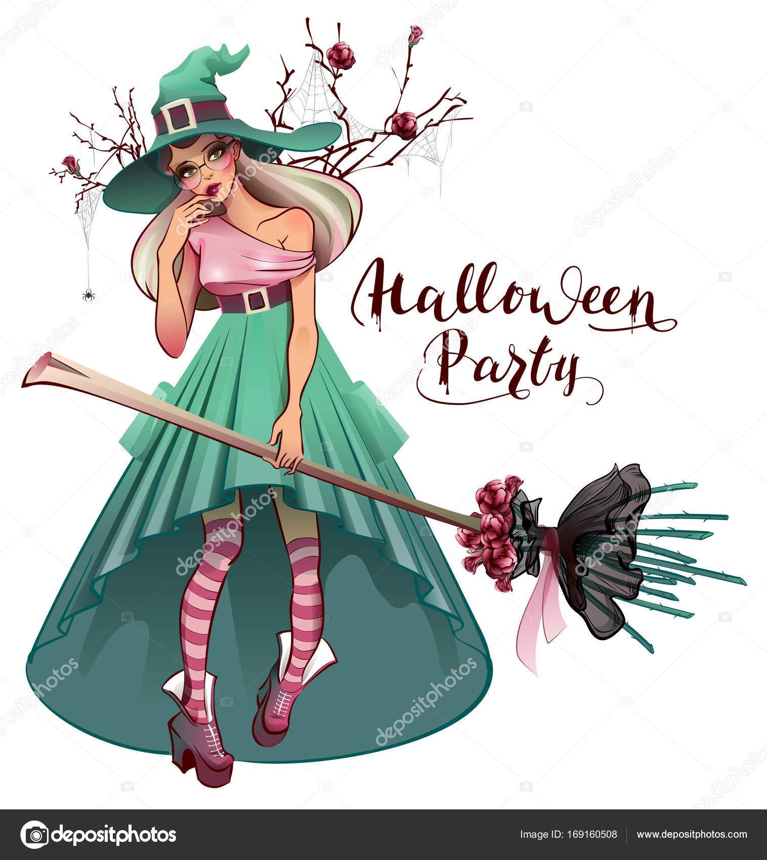 Modische Kleidung für Halloween-Party Cosplay. Schöne junge Frau ...