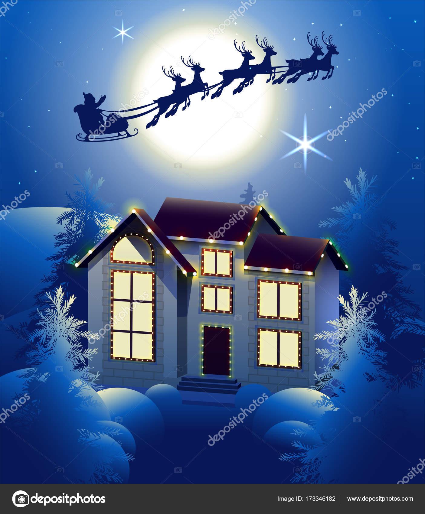 Weihnachtsbeleuchtung Schlitten.Weihnachtsmann Im Schlitten Rentier Silhouette Im Hintergrund Der