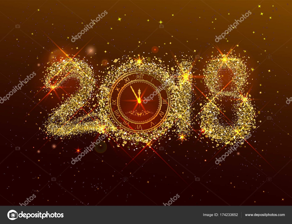 2018 Año Nuevo Número Confeti Dorado Sobre Fondo Oscuro Reloj Cara