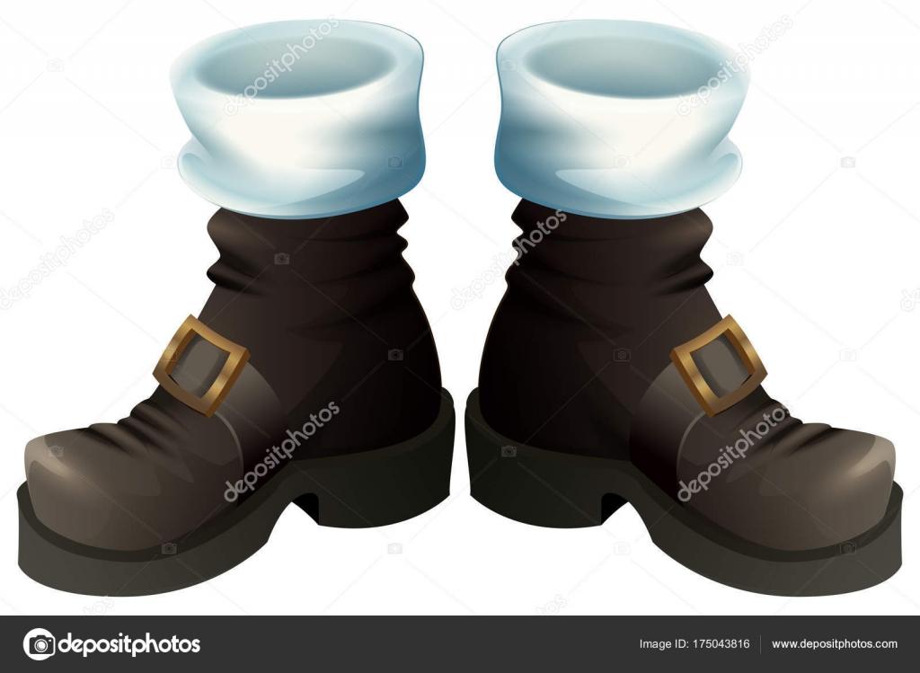 Fekete arany csat cipő. Mikulás csizma karácsonyi tartozék– stock  illusztrációk 6653ed7ed5