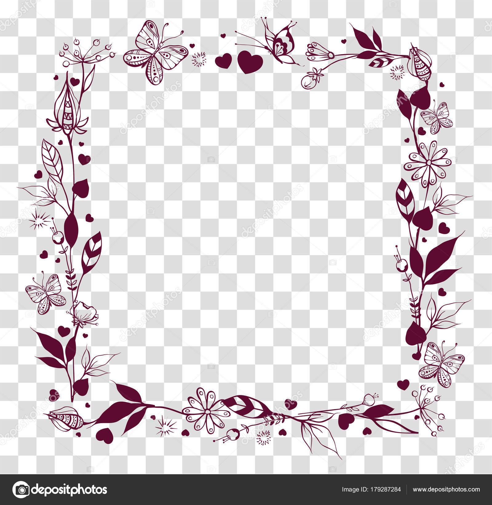 Quadratischer Rahmen der abstrakten Blumen und Blätter auf ...